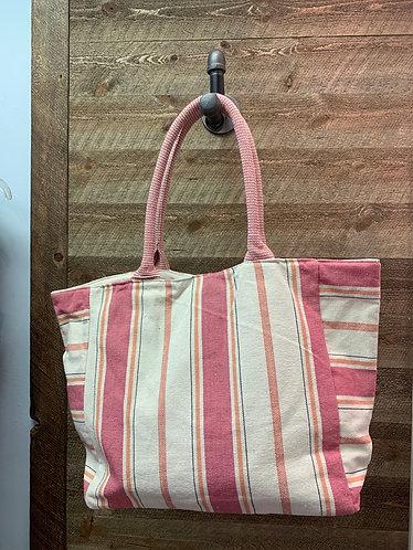 Pink Striped Beach Bag