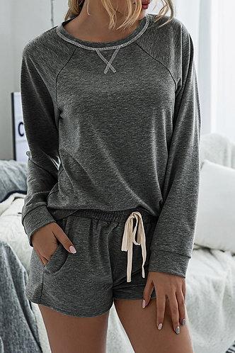Grey Long Sleeve Leisurewear And Shorts
