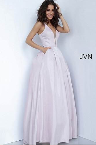 Tie Back Plunging Neck Ballgown