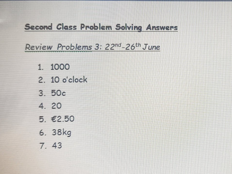 Second Class Problem Solving answers 22nd-26th June (Ms Naughton)