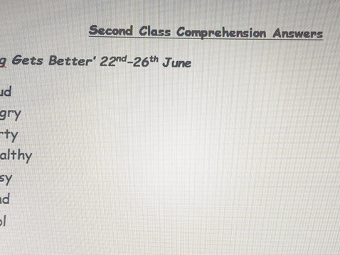 Second Class Comprehension answers 22nd-26th June (Ms Naughton)