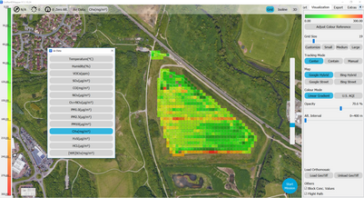 Airborne pollutant data mapping
