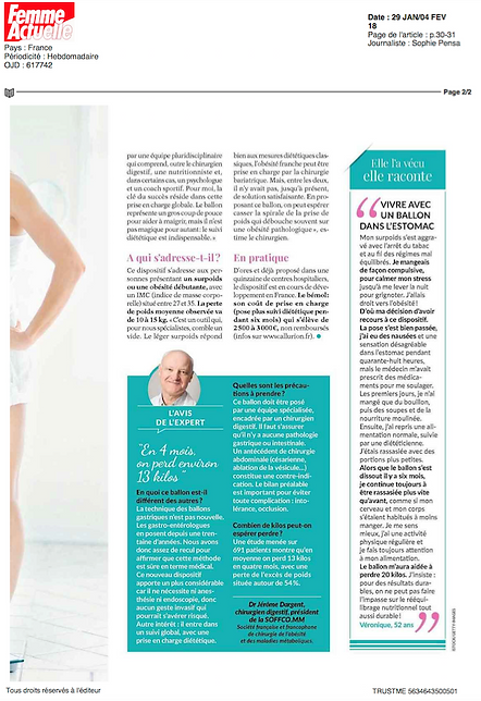 article Femme Actuelle Ballon gastrique Elipse sans chirurgie
