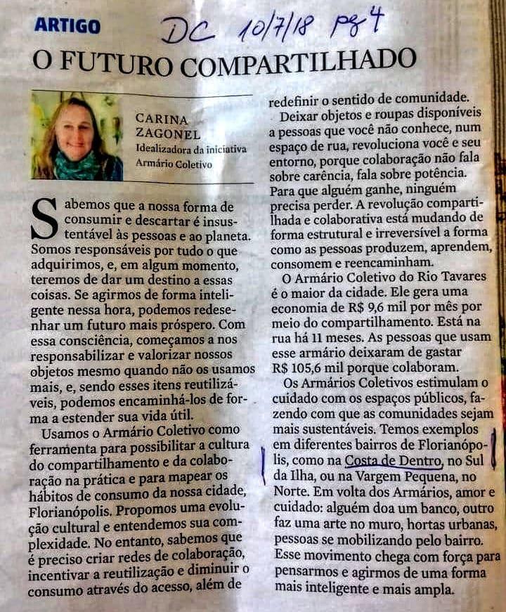 Artigo publicado no Diário Catarinense, 10 de junho de 2018