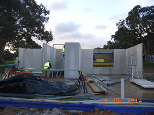 4 The carpenters can now start working on the center walls. Each window will have a lintel as per the engineers design