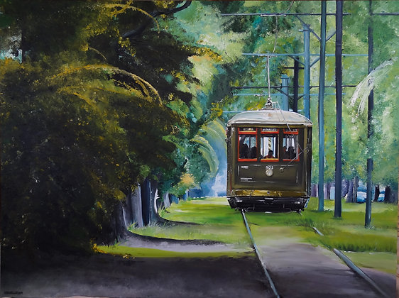 """Signed Print of """"New Orleans Street Car"""""""