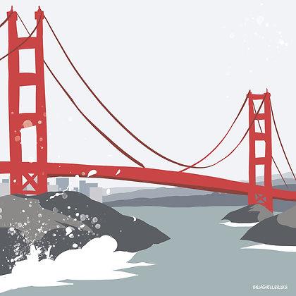 "Signed Print of ""Golden Gate Bridge"" Digital Art"
