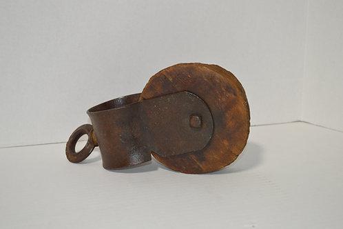 Antique Wood & Metal Pulley