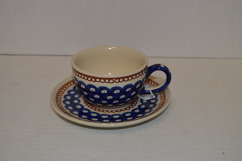 Boleslawiec Pottery Coffee Cup & Saucer Scalloped Edge