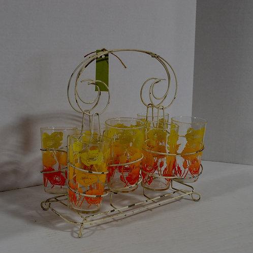 Set of 8 Vintage Drink Glasses in Whimsical drink caddy