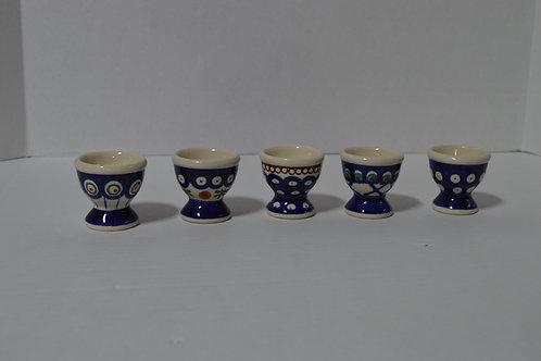 Set of 5 Polish Pottery Egg Cups