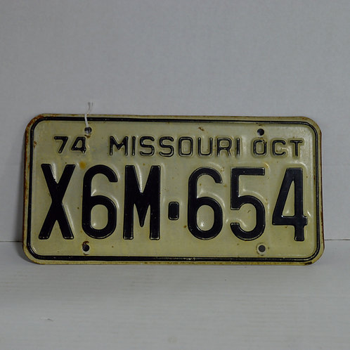 1974 Missouri License Plate