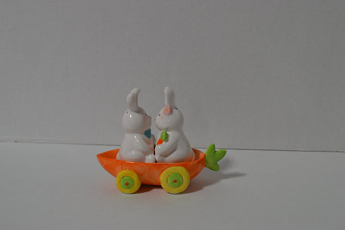 Bunny Salt & Pepper Shakers in Carrot Wagon Carrier