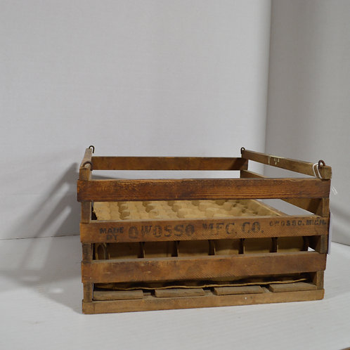 Vintage Wooden Egg Crate by Owosso