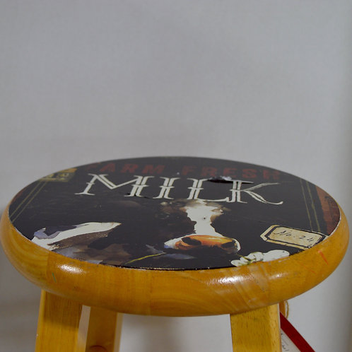 Farmhouse Milk Wooden Stool