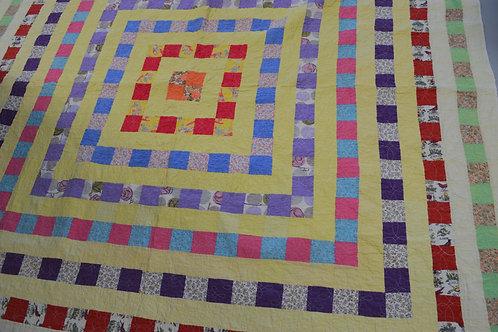 Yellow & White Quilt Machine Stitched