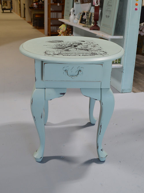 Oval Soft Mint Side Table with Drawer