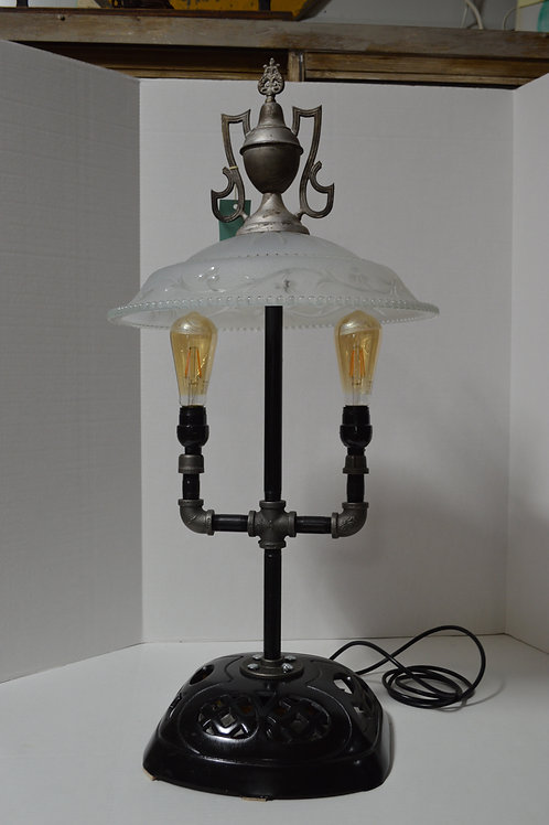 One of a kind repurposed stove lamp