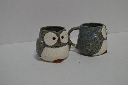 Pair of Ceramic Owl Mugs
