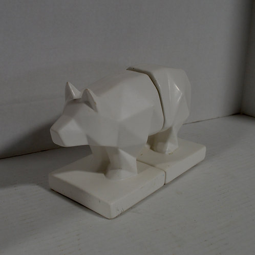 White Ceramic Modern Pig Bookends
