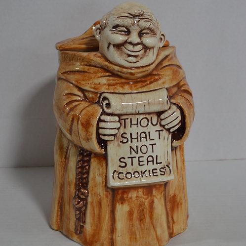 Thou Shalt Not Steal (Cookies) Monk Cookie Jar by Treasure Craft