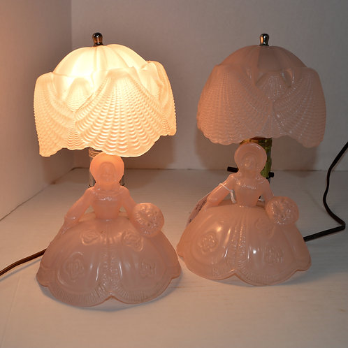 Pair of Vintage Pink Ladies Lamps with Glass Shade