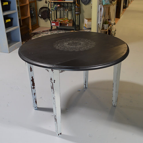 Black Drop Leaf Table with White Mandala Design