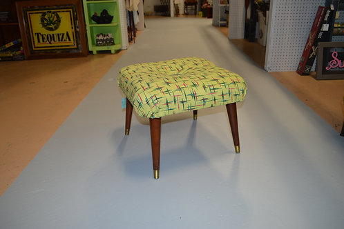 Mid Century Modern Atomic Upholstered Footstool