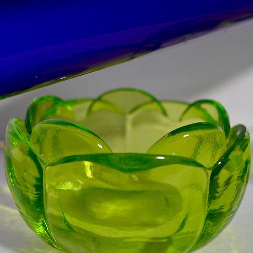 Pair of Uranium Vaseline Glass Candleholders