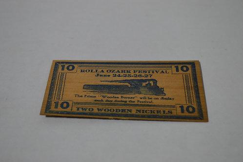 Rolla, MO 1937 Ozark Festival Wooden Nickel