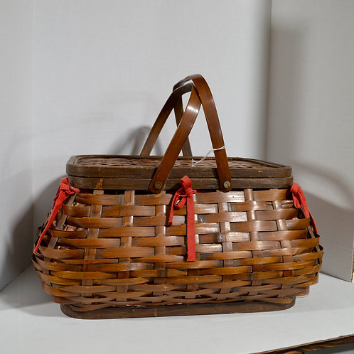 Large Picnic Basket with Red Gingham Liner