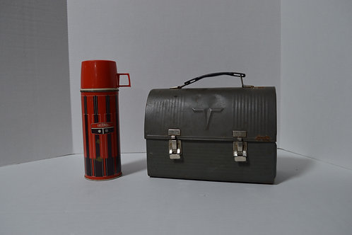 Vintage Black Lunch Box with Thermos