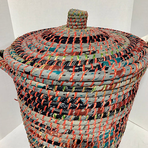 Fabric wrapped Coil Basket with Lid