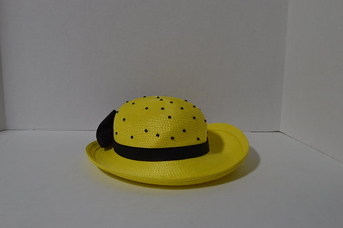 Vintage Yellow Hat with Black Polka Dots & Bow