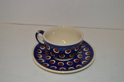 Boleslawiec Pottery Coffee Cup & Saucer Red Dots