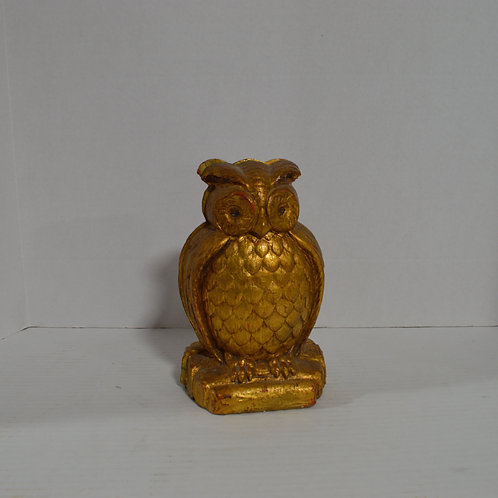 Gold Owl Plaster Bookends