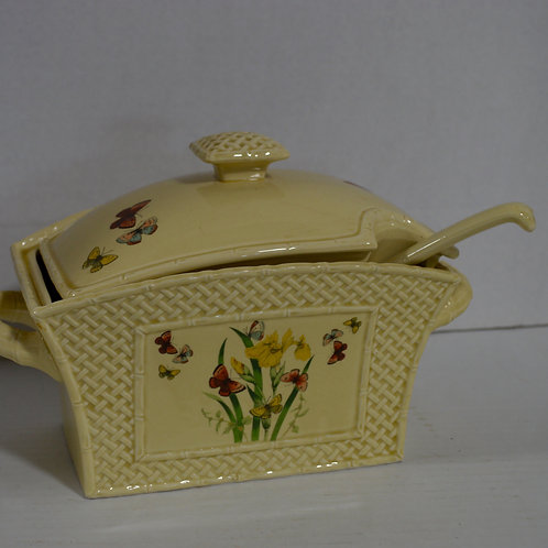 """Vintage 1978 Soup Tureen with ladle- """"Butterfly Garden"""" by Enesco"""