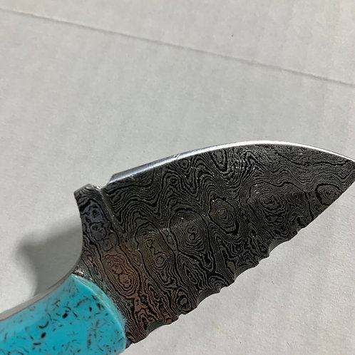 Damascus Drop Point Turquoise Handle