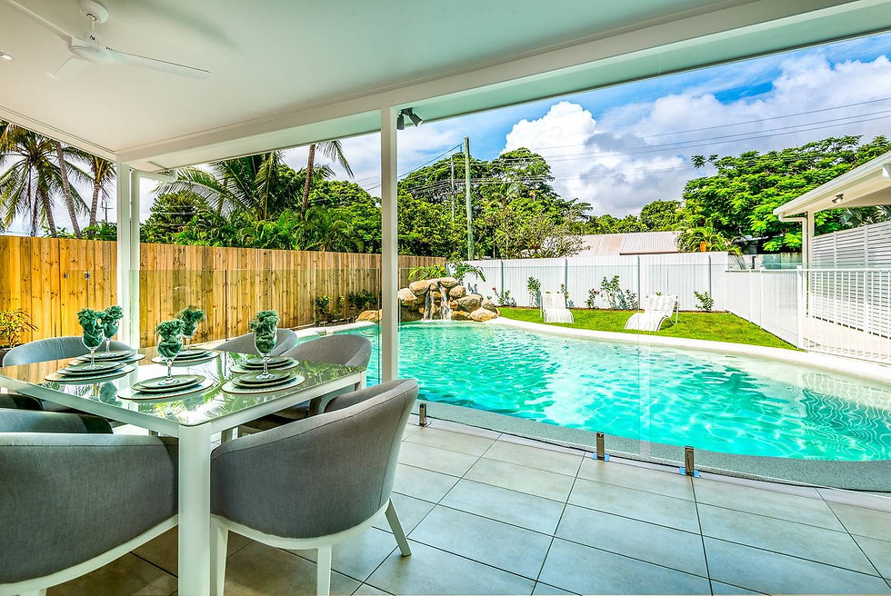 Outdoor covered dining by the pool
