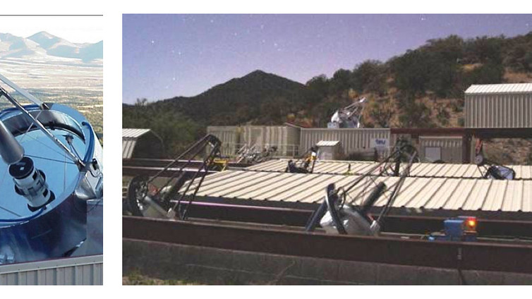After 10 years on Mt. Hopkins, the Fairborn Observatory purchased remote dark sky property south of Mt. Hopkins, just 5 miles north of the Mexican border.  Operating every clear night is a two-meter automated spectroscopic telescope (left) and an array of 13 smaller telescopes.