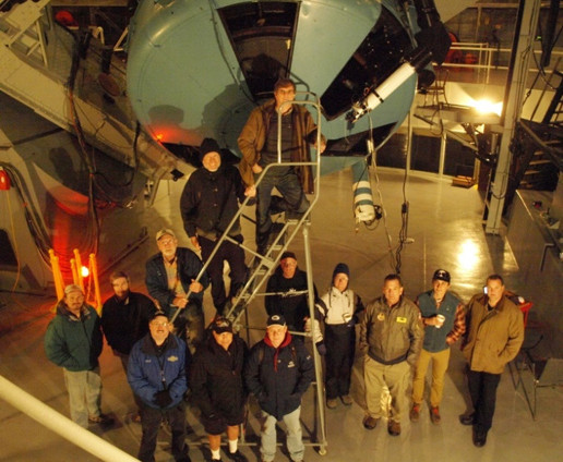 The Astronomy Research Seminar has many supporting members who work on the development of telescopes, instrumentals, and software. In their day jobs, many of them are engineers (or retired engineers) and bring their skills to bear in support of the seminar.  Here they are checking an emCCD camera on the 100-inch telescope for use in close double star observations via speckle interferometry.