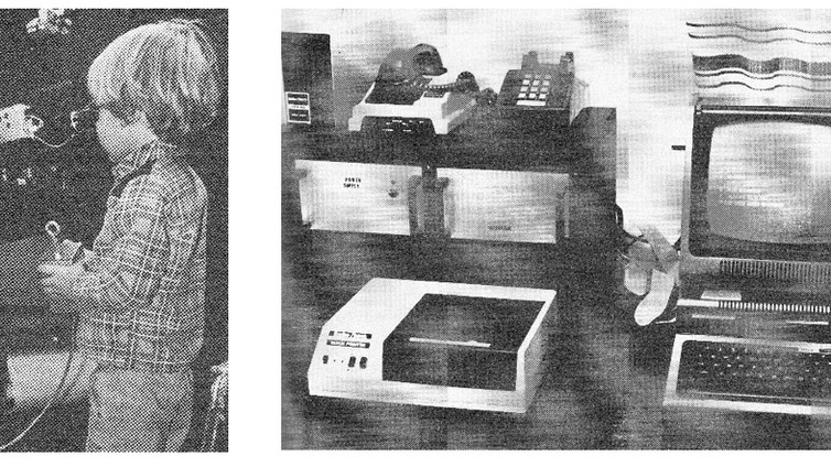 Russell Genet Jr. (1979) centers a star at the Fairborn Observatory's first telescope (left).  The UBV photometer, DC amplifier, high voltage power supply, and strip chart recorder are visible.  A Radio Shack TRS-80 microcomputer (right) was used for data reduction.  Also shown are a thermal printer, modem, and (upper left) a floppy drive.