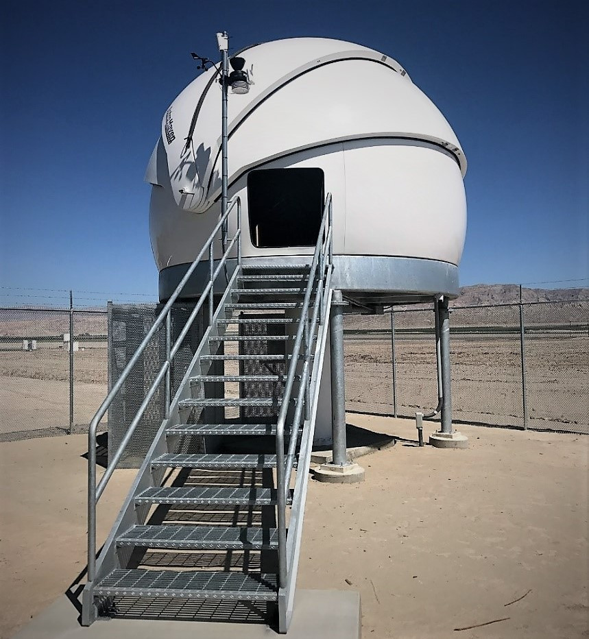 The PlaneWave Instruments 1.0-meter telescope is housed in an AstroHaven dome.  The observatory, which is totally robotic, is only visited by humans on rare occasions.  The observatory installation by Observatory Systems was completed in a matter of days.