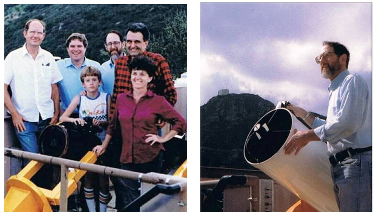 Russ Genet's Fairborn 10 robotic telescope (left) was the first to be installed at the Automatic Photoelectric Telescope (APT) Service on Mt. Hopkins in 1985.  Lou Boyd's Phoenix 10 was the second telescope on Mt. Hopkins, while the Vanderbilt 16 (shown with Doug Hall, right) was funded by the National Science Foundation.