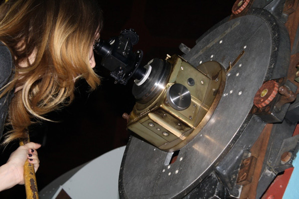 Christine Gerhart making a measurement of a close double star with a Lyot double-image micrometer on the 60-inch telescope.