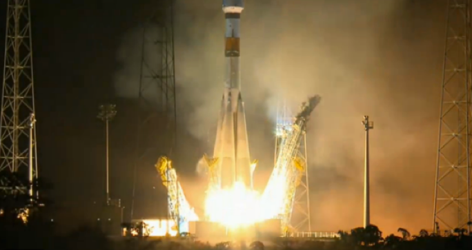 The nighttime launch of the European Space Agency's Gaia Astrometric Telescope.