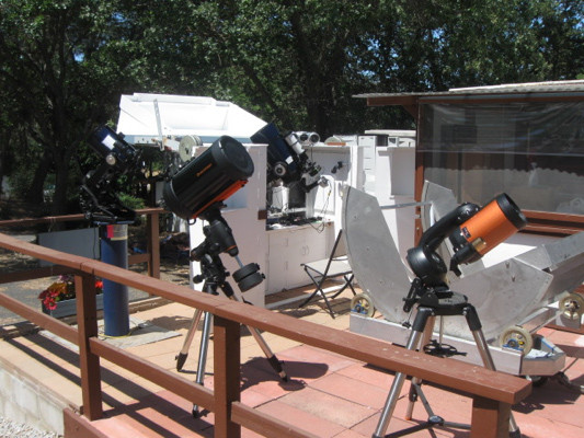 The 10-inch Meade telescope in the white, flip-top observatory enclosure at the Orion Observatory was equipped with an Andor emCCD camera for speckle interferometry.