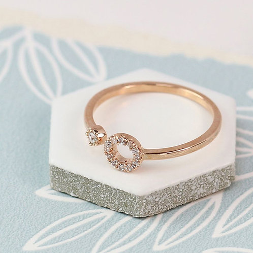 Rose gold plated open circle and crystal ring