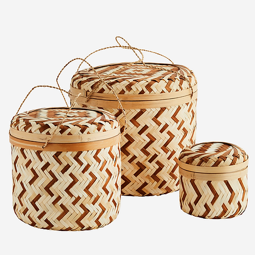 Round bamboo boxes w/ lid