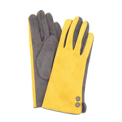 Mustard and grey faux suede button gloves